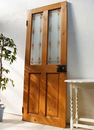 イギリスアンティーク ガラス入りパインドア 扉 建具 ディスプレイ 5090
