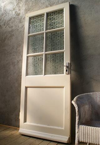 イギリス アンティーク ガラス入り木製ドア 扉 ディスプレイ 建具 6018