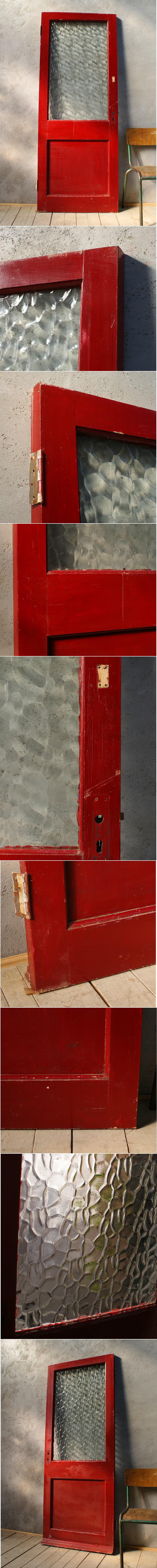 イギリス アンティーク ガラス入り木製ドア 扉 ディスプレイ 建具 6052