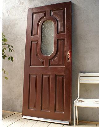 イギリス アンティーク ガラス入り木製ドア 扉 ディスプレイ 建具 6092