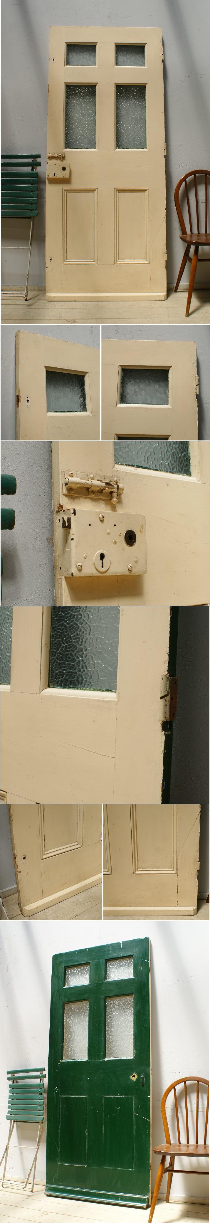 イギリス アンティーク ガラス入り木製ドア 扉 ディスプレイ 建具 6267