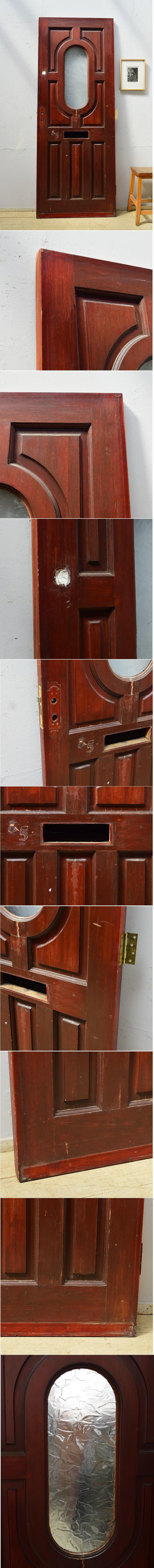 イギリス アンティーク ガラス入り木製ドア 扉 ディスプレイ 建具 6508