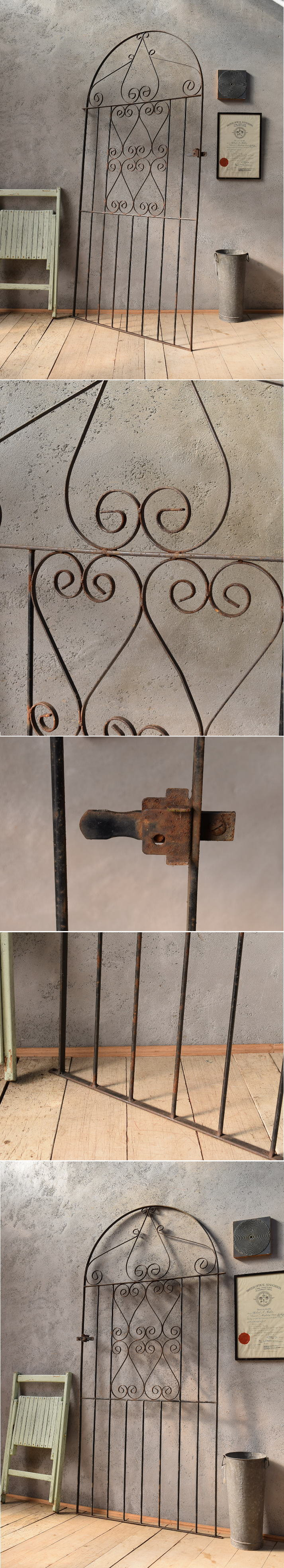 イギリスアンティーク アイアンフェンス ゲート柵 ガーデニング 6601