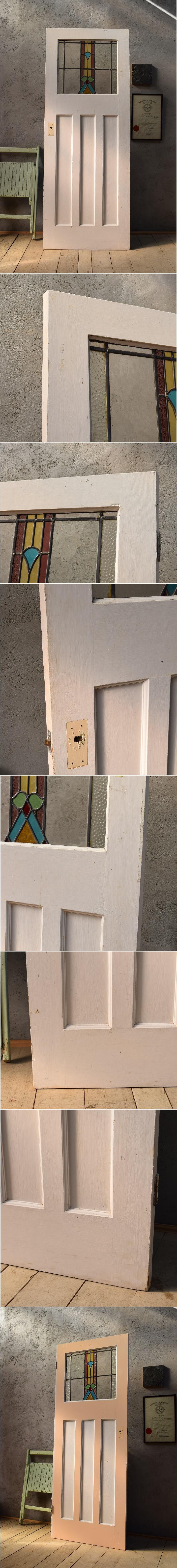 イギリス アンティーク ステンドグラス入り木製ドア 扉 ディスプレイ 建具 6603