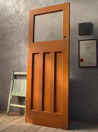 イギリス アンティーク ガラス入り木製ドア 扉 建具 6611