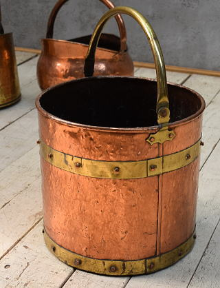 イギリス アンティーク 銅製 コールバケツ プランターカバー 6806