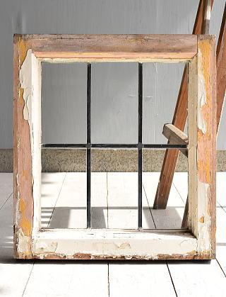 イギリス アンティーク 格子窓 無色透明 6971