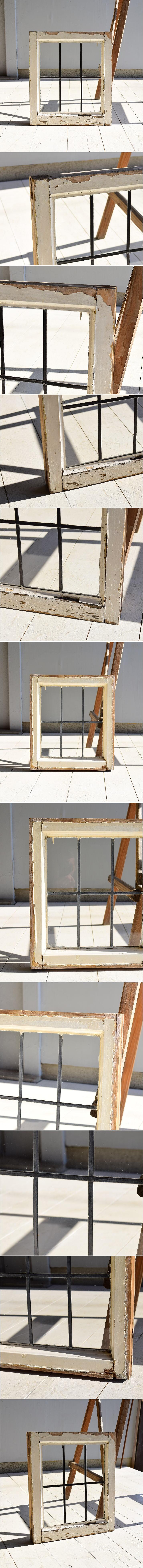 イギリス アンティーク 格子窓 無色透明 6972