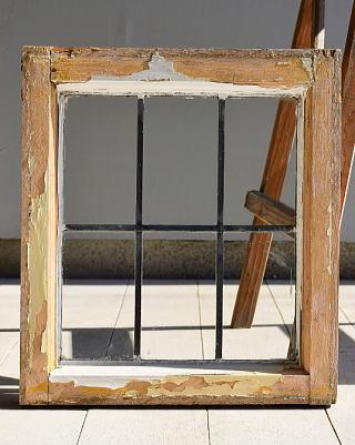 イギリス アンティーク 格子窓 無色透明 6973